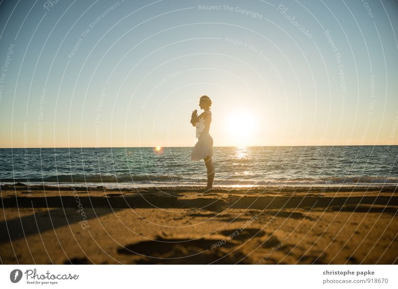 Sun salutation III Athletic Fitness Life Harmonious Well-being Relaxation Meditation Vacation & Travel Summer Summer vacation Beach Ocean Sports Sports Training