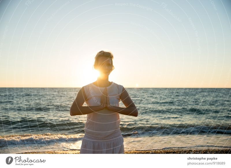 Sun salutation IV Athletic Fitness Life Harmonious Well-being Relaxation Meditation Vacation & Travel Summer Summer vacation Beach Ocean Sports Sports Training