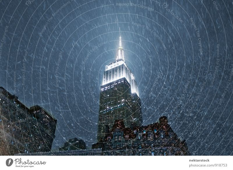 Empire State Building in New York with snow Style Vacation & Travel Town Downtown Skyline High-rise Bank building Architecture Wall (barrier) Wall (building)