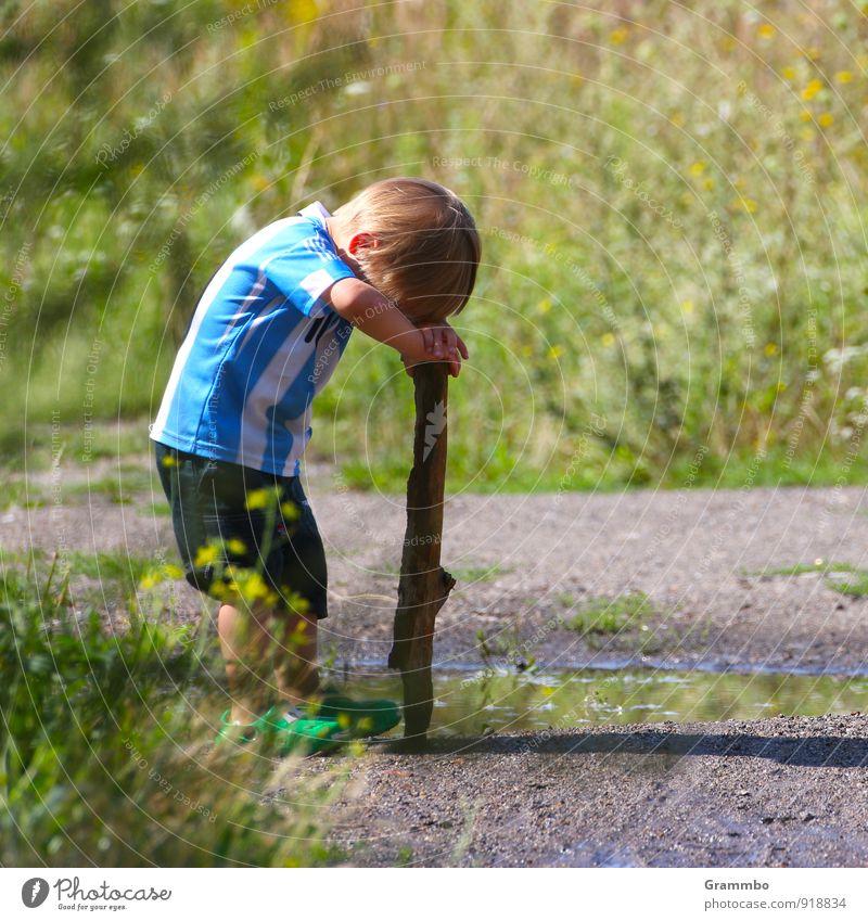 Human being Child Blue Green Summer Calm Grass Boy (child) Small Think Masculine Bushes Infancy Cute Beautiful weather Break