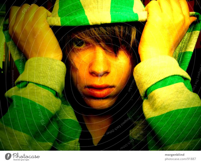 Striped // Green Yellow Sweater Lips Hand Emotions Face Eyes Contrast