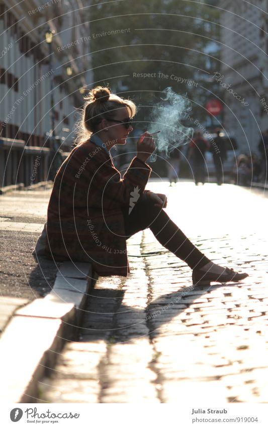 Human being Woman Youth (Young adults) Young woman 18 - 30 years Yellow Adults Street Feminine Gold Sit Wait Hamburg Sidewalk Smoking Hip & trendy