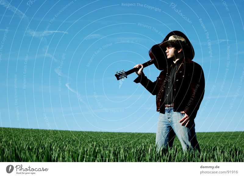 YEEHAA II Cowboy Fellow Man Grass Summer Spring Livestock Herdsman Jacket Buckskin Shirt Cowboy hat Straw Straw hat Playing Music Sound Acoustic Buttons Hand