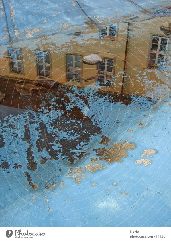 Water Blue House (Residential Structure) Window Reflection Puddle