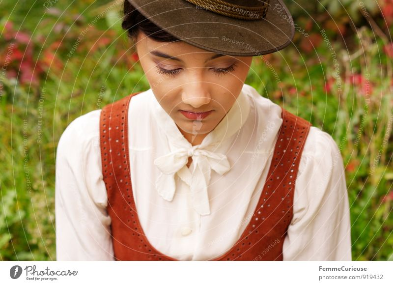 Fräulein_04 Feminine Young woman Youth (Young adults) Woman Adults 1 Human being 18 - 30 years Nature Beautiful Timidity Twenties Dress Leather Hat Delicate