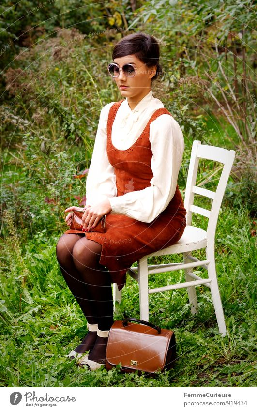 Miss_08 Feminine Young woman Youth (Young adults) Woman Adults 1 Human being 18 - 30 years Beautiful Elegant Twenties Chic Garden festival Wooden chair