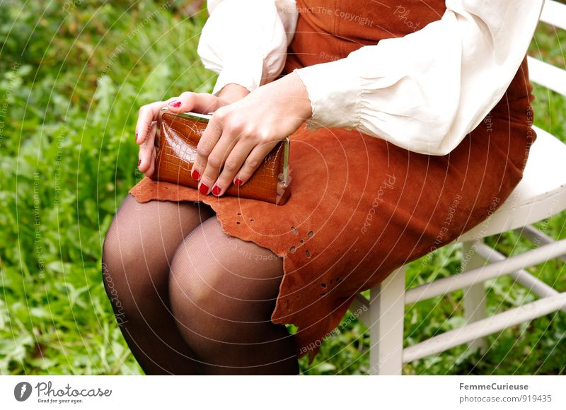 Human being Woman Nature Youth (Young adults) White Young woman Red Hand 18 - 30 years Adults Meadow Feminine Garden Legs Brown Elegant