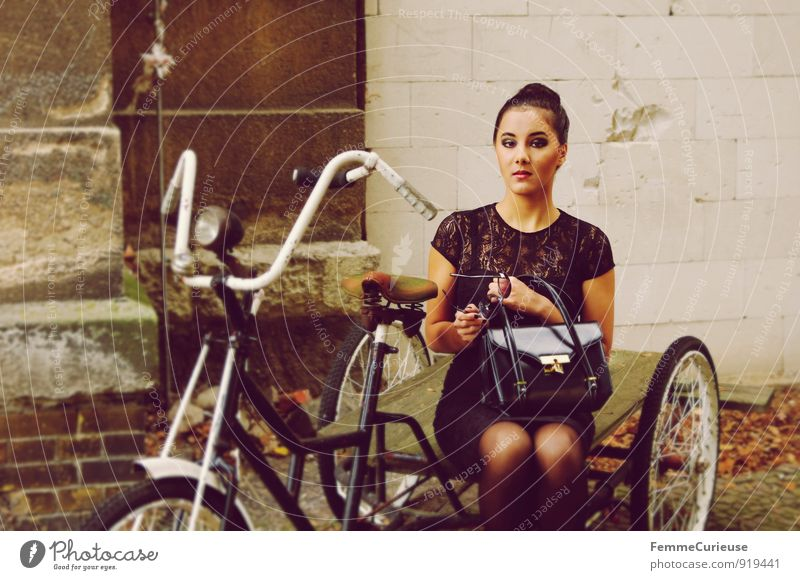 Human being Woman Youth (Young adults) City Young woman 18 - 30 years Adults Feminine Style Fashion Lifestyle City life Elegant Bicycle Sit Success