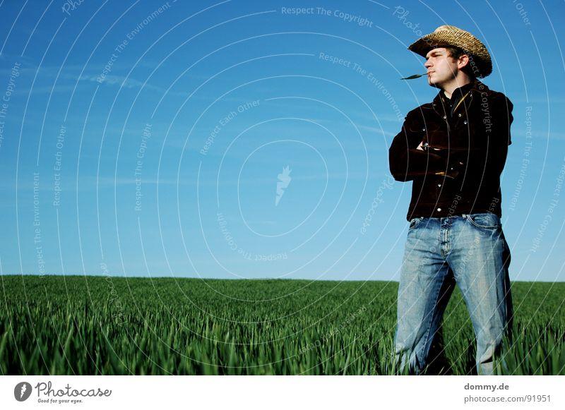 yippi ei jo du schweinebacke! Cowboy Fellow Man Grass Summer Spring Livestock Herdsman Jacket Buckskin Shirt Cowboy hat Straw Straw hat Playing Sound Acoustic