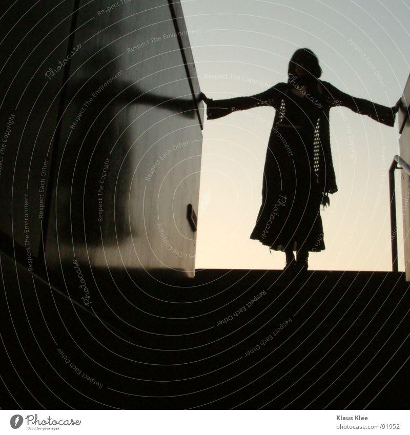 STOP Woman Reflection Black Scarf Tunnel Trust Stairs silutette Handrail Sky saskia kiako