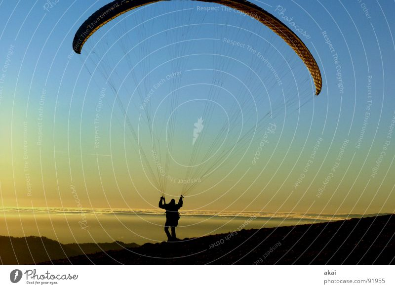 Sun Joy Vacation & Travel Colour Sports Emotions Mountain Orange Beginning Parachute Romance Dusk Planet Paragliding Departure Painted