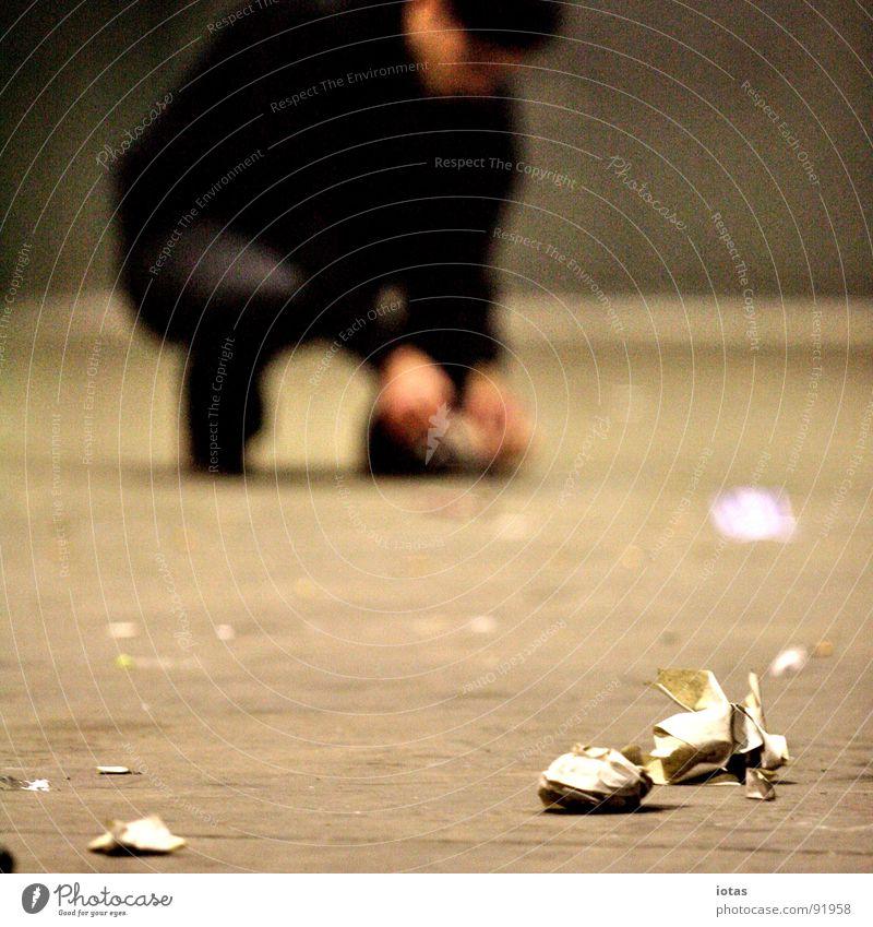 Man Dark Stone Going Feet Dirty Dance Back Walking Success Floor covering Trash Event Club Dance floor Tidy up
