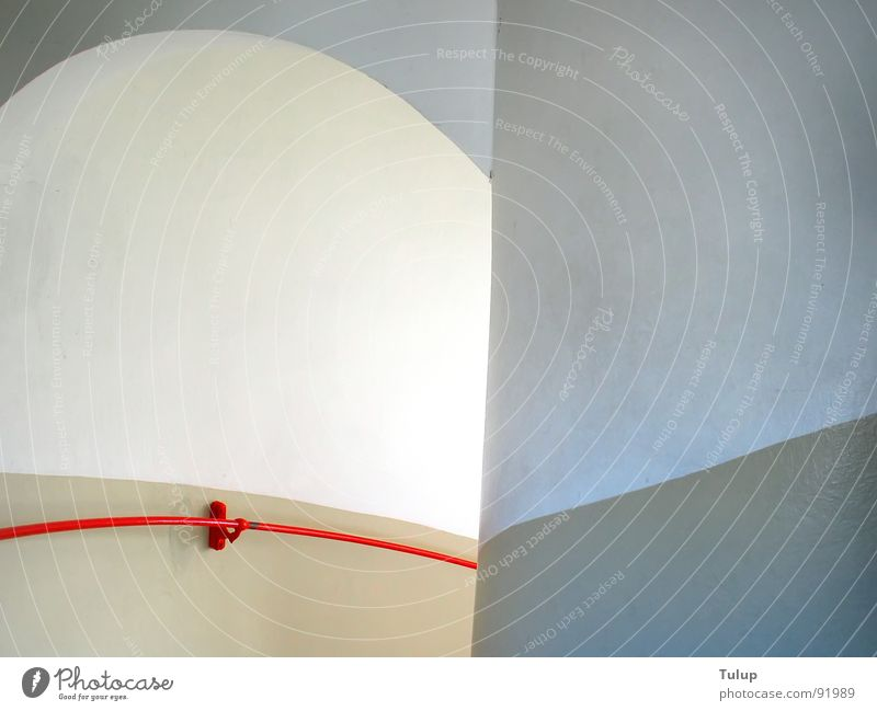 downwards Staircase (Hallway) Lighthouse Red Calm Detail Handrail Downward Arch banister