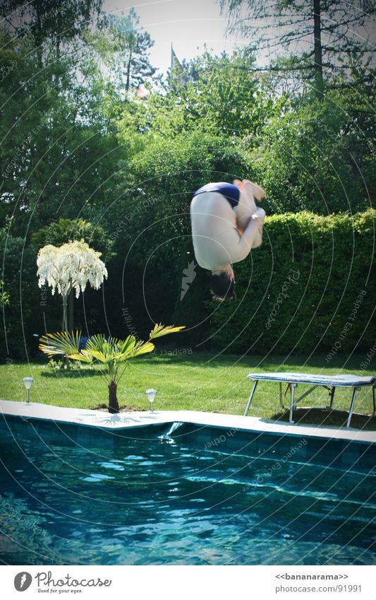 My Vadda's doing a somersault! Salto Swimming pool Jump Summer Spring Physics Trampoline Joy Swimming & Bathing Warmth 20° Water fly dad Banana Dad departing