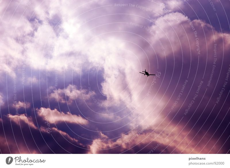 flying through the air Aviation Sky Clouds Airplane Two-seater Blue Violet White Evening Twilight Light Back-light Cloud formation Mountain cloud Small