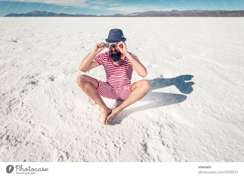 Hello awake! Lifestyle Vacation & Travel Human being Masculine Man Adults Artist Culture Snow Mountain Lake Desert Fashion Swimming trunks Hat Facial hair Sit