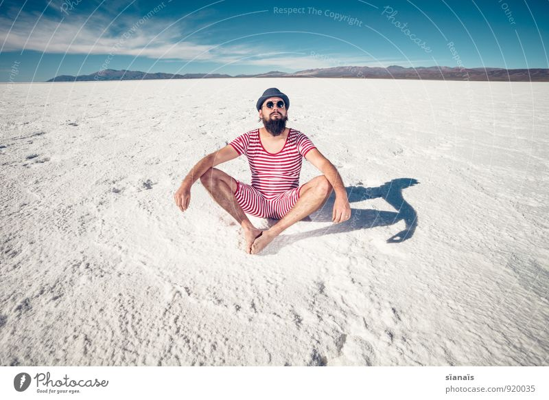 Exercise No. 1 Lifestyle Meditation Vacation & Travel Yoga Masculine Man Adults Facial hair Desert Sunglasses Hat Sit Red White Surrealism Argentina Swimsuit