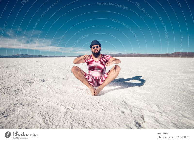 HOPE CARRIER Lifestyle Vacation & Travel Snow Mountain Masculine Man Adults Facial hair Desert Sunglasses Hat Sit Red White Whimsical Surrealism Argentina