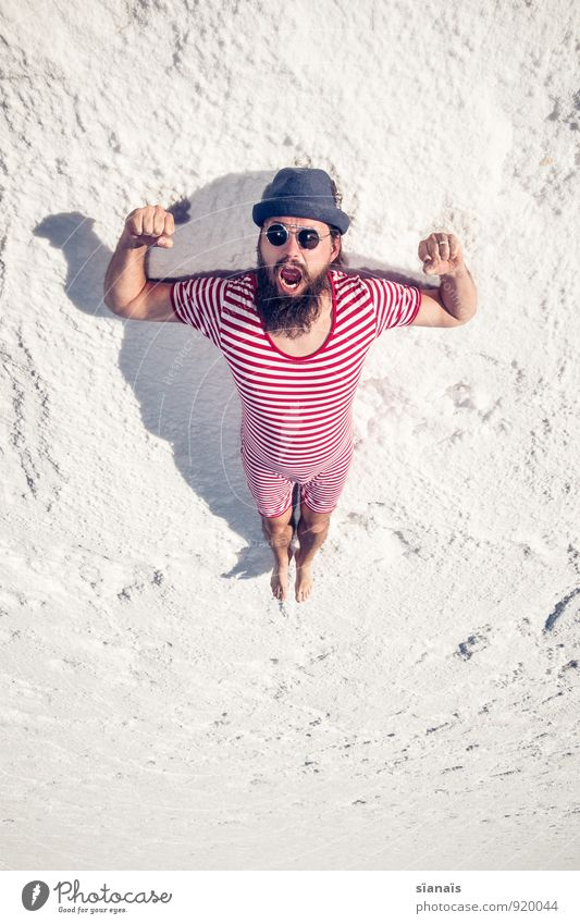 Exercise No. 2 Lifestyle Vacation & Travel Masculine Man Adults Facial hair Desert Sunglasses Hat Sit Wait Red White Surrealism Musculature Stretching Argentina