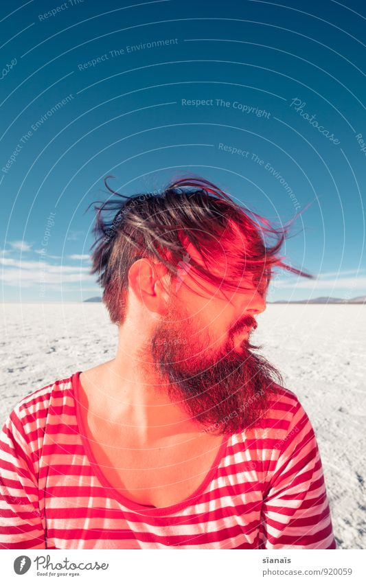 Human being Vacation & Travel White Red Far-off places Hair and hairstyles Horizon Masculine Ice Beautiful weather Uniqueness Frost Desert Anger Facial hair