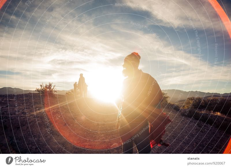 backlit Lifestyle Vacation & Travel Tourism Adventure Far-off places Freedom Expedition Sun Human being Masculine Man Adults Desert Cap Beard Red Brave Hope