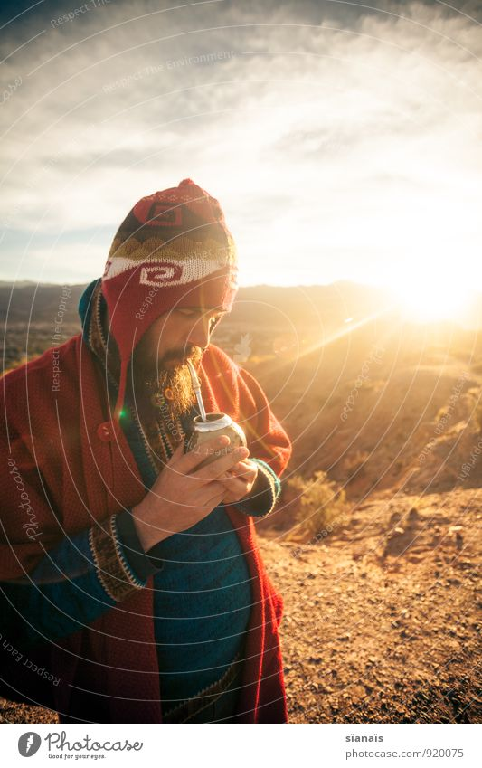 Mate, mate! Tea Lifestyle Vacation & Travel Tourism Adventure Far-off places Freedom Expedition Sun Human being Masculine Man Adults Cap Beard To enjoy Break