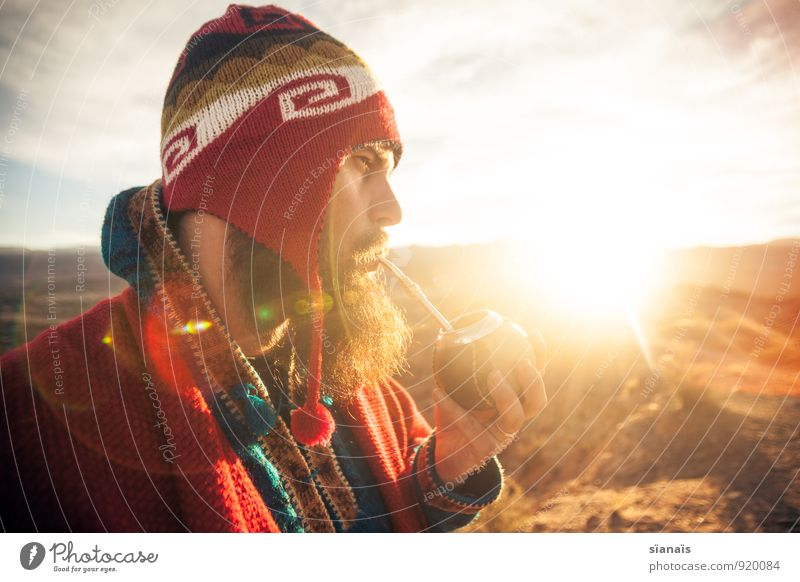 Human being Vacation & Travel Man Sun Red Far-off places Adults Freedom Masculine Lifestyle Tourism To enjoy Adventure Break Coffee Cap