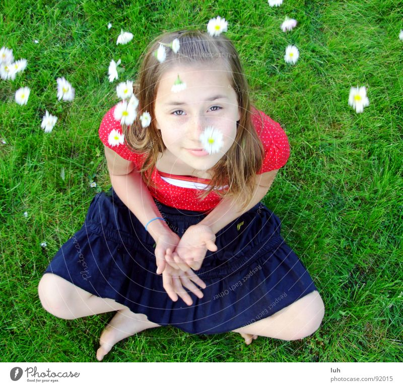 Child Youth (Young adults) Green White Girl Red Flower Summer Joy Black Colour Grass Jump Spring Healthy Skin