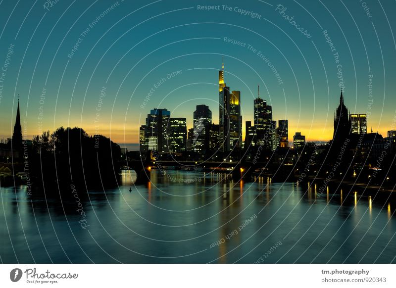 Frankfurt Skyline Sunset Cloudless sky Sunrise Beautiful weather River Main Town Downtown Deserted High-rise Bank building Church Dome Building Architecture
