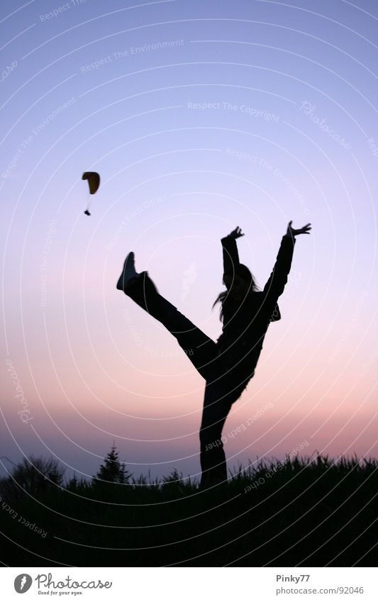 Kick the Paraglider! Paragliding Jump Joie de vivre (Vitality) Swing Sports Woman Hiking Sunset Dusk Austria Gaisberg Meadow Tree Romp Fir tree Tread Silhouette