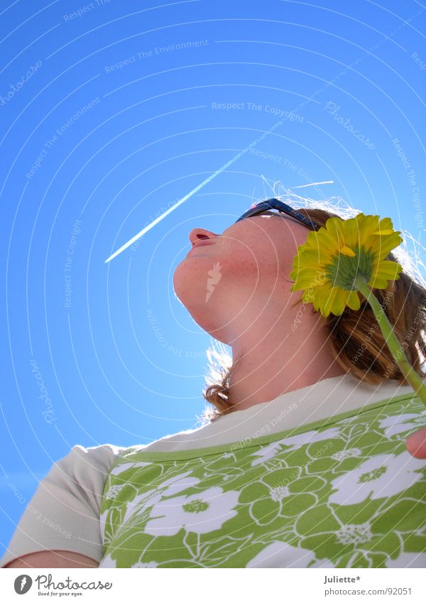Woman Sky Flower Green Summer Joy Airplane Birthday Longing