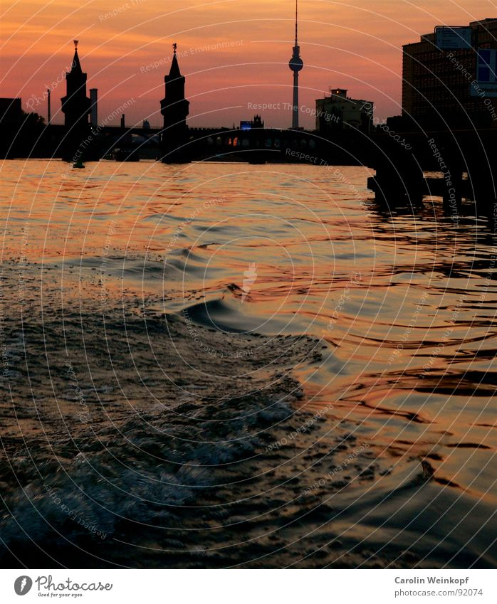 Water Beautiful Summer Life Berlin Watercraft Waves Bridge River Romance Skyline Monument Landmark City Dusk Berlin TV Tower