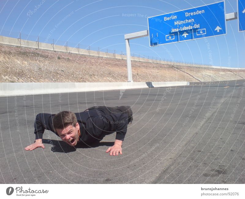 Sports on the motorway Highway Scream Crazy Bet Test of courage Accident Panic Fear Lie push-up road Jena Lobeda Highway ramp (exit) run sb./sth. over Dangerous