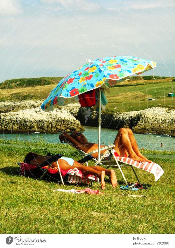 chilli vanilla Relaxation Sunshade Deckchair Flower Grass Ocean Spain Towel Sleep Retro Coast Vacation & Travel Summer Water sunbathe Sky Retirement Feet