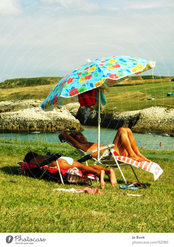 Sky Water Sun Flower Vacation & Travel Summer Ocean Relaxation Life Grass Coast Feet Sleep Retro Hind quarters Sunshade