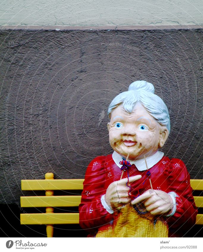 Rope, Granny! Grandmother Knit Senior citizen Future Ambiguous Watchfulness Loneliness Painted Wall (building) Dark Hand Yellow Red Gray Hair and hairstyles