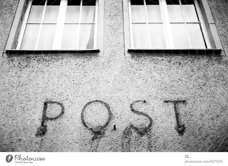 mail Mail Deserted Building Architecture Wall (barrier) Wall (building) Facade Window Old Stagnating Decline Past Post office Black & white photo Exterior shot