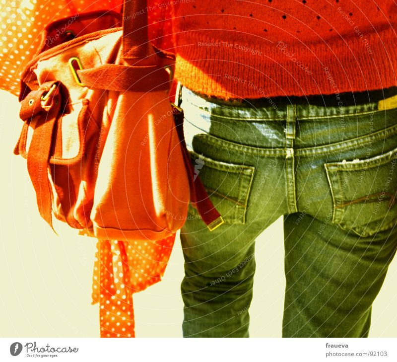 Woman Youth (Young adults) Red Vacation & Travel Colour Orange Going Jeans Hind quarters Beautiful weather Jacket Lady Sweater Bag Carrying In transit