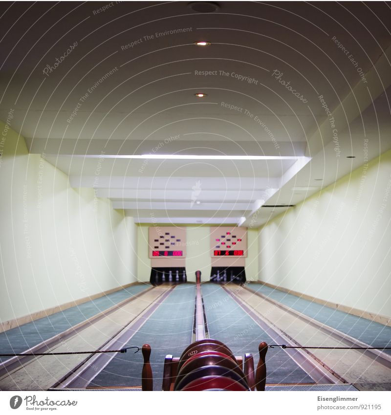 Bowling for.... Bowling alley Bowling ball Skittle Throw Athletic Numbers Success counter indoor sports Colour photo Interior shot Deserted Copy Space top