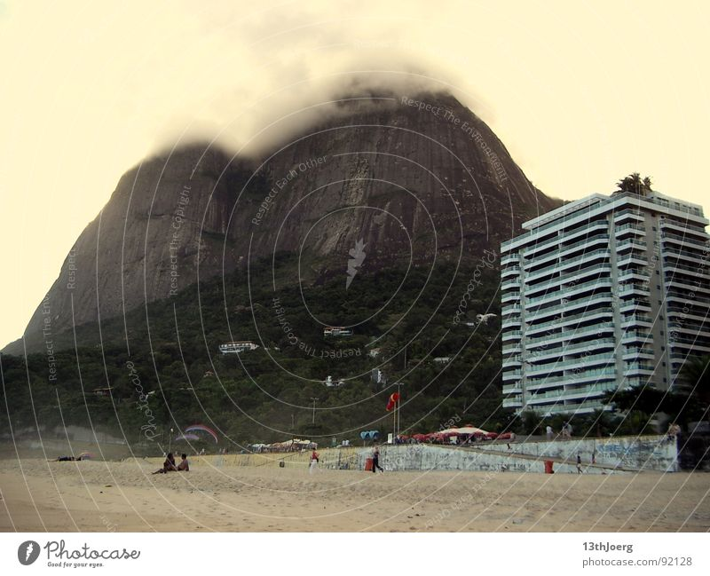 mountain shadow hotel Brazil South America Rio de Janeiro Beach Summer Fog Hotel Prefab construction Human being Vacation & Travel Threat Calm Force of nature