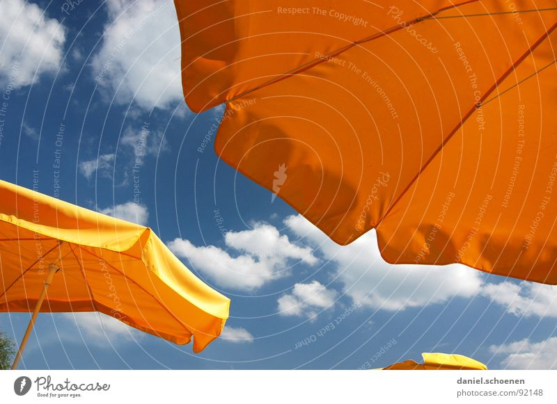 Sky Blue Beautiful Vacation & Travel Sun Summer Clouds Yellow Warmth Orange Weather Background picture Leisure and hobbies Gastronomy Café Sunshade