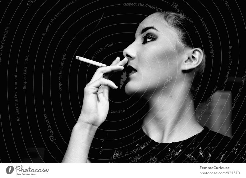 Human being Woman Youth (Young adults) Beautiful Young woman 18 - 30 years Black Dark Adults Feminine Style Lifestyle Elegant Smoking Tobacco products Luxury