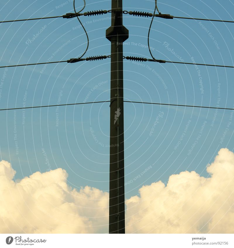 White Blue Black Clouds Wood Line Brown Electricity Aviation Middle Electricity pylon Partially visible