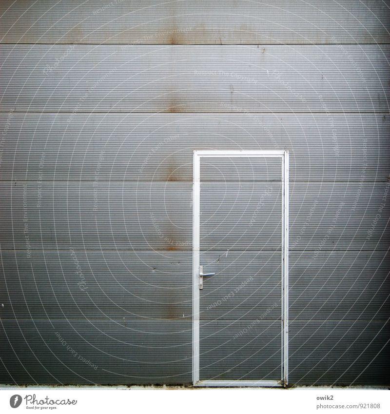 a way out Door Tin Metal Sharp-edged Simple Gloomy Gray Door handle Slate blue Doorframe Entrance Front door Closed Dismissive Demanding Protection Barrier Gate