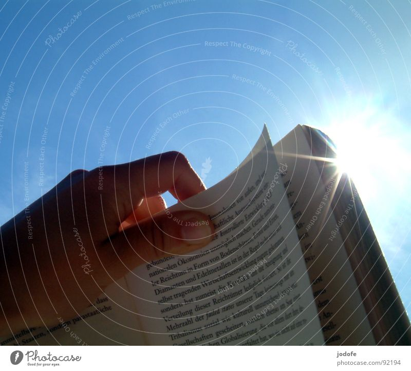 Sky Blue Hand Sun Summer Bright Book Characters Study Paper Reading Education To hold on Media Document Sunbathing