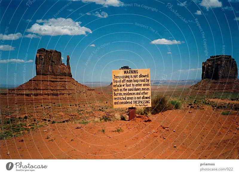Nature Sand Landscape Rock USA Desert National Park Warning sign