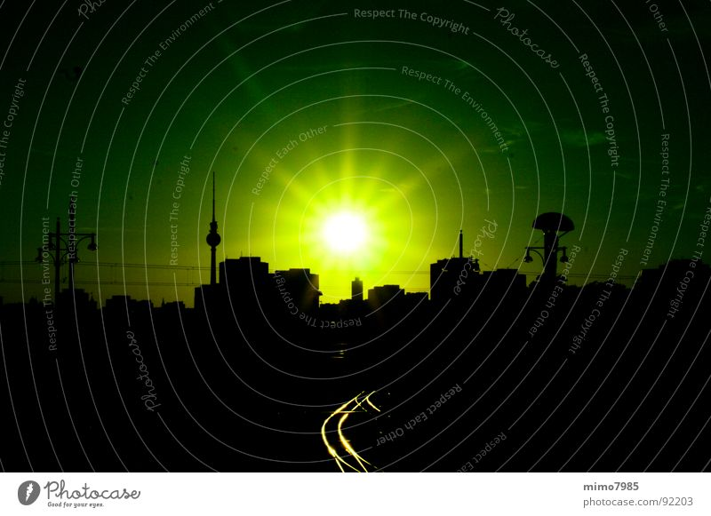 Skyline Berlin Sun House (Residential Structure) Lamp Horizon Town Capital city Downtown Train station Building Architecture Roof Landmark Railroad tracks