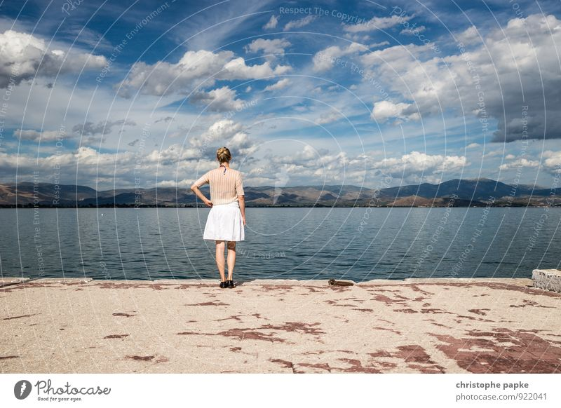 water cant Vacation & Travel Trip Freedom Summer Summer vacation Ocean Woman Adults 1 Human being 30 - 45 years Landscape Water Sky Clouds Horizon