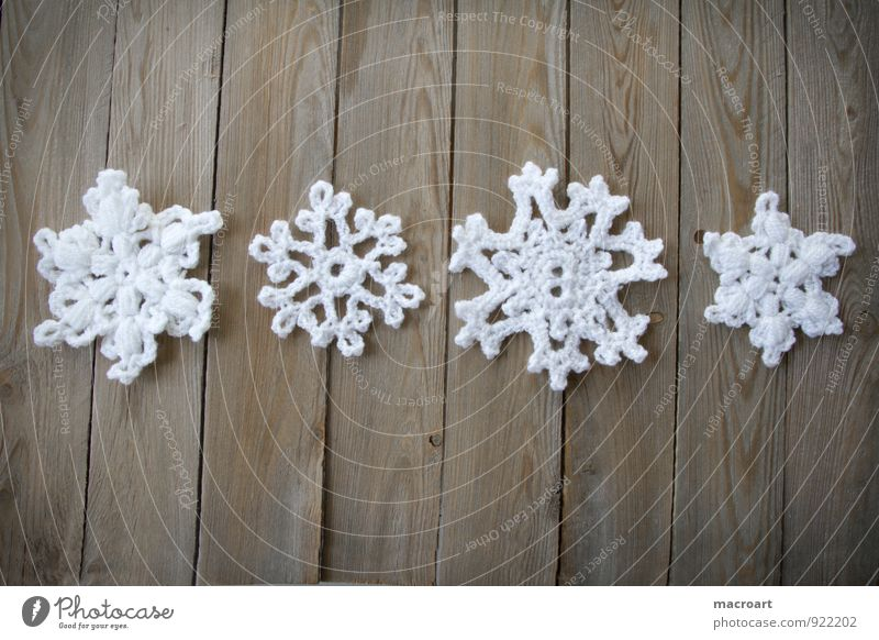 Snowflake White skirt... Crochet Crocheted Pattern Handcrafts Leisure and hobbies Wool Cotton Close-up Row Lie Wood Wooden table snowflakes Wooden board Board