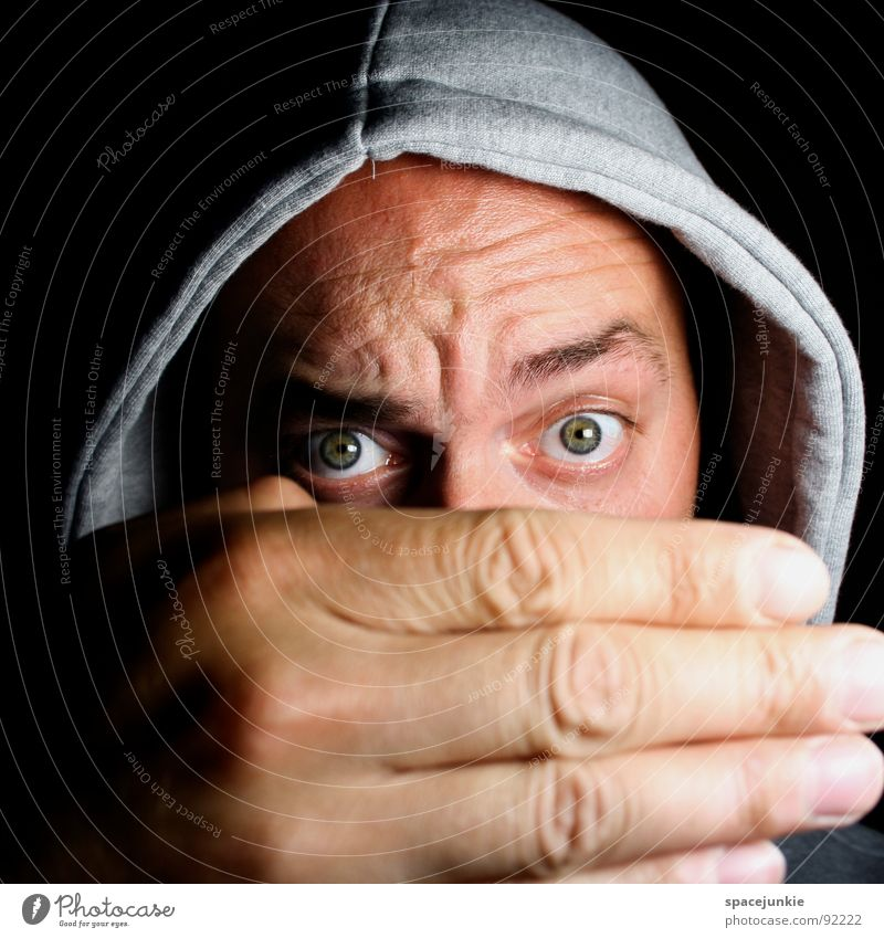 Big hand Portrait photograph Man Freak Hand Large Whimsical Crazy Humor Sweater Earnest Hiding place Joy Looking Funny Eyes Hooded (clothing) Hide Bizarre
